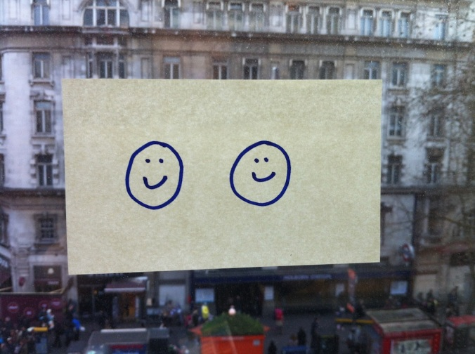 Post-it note on window