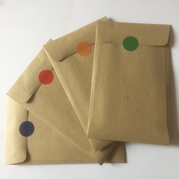 Dot stickered envelopes